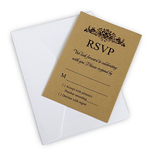 Doris Home Gold Rsvp cards with white envelopes for wedding invitations, 50 pcs/lot (50, Gold)