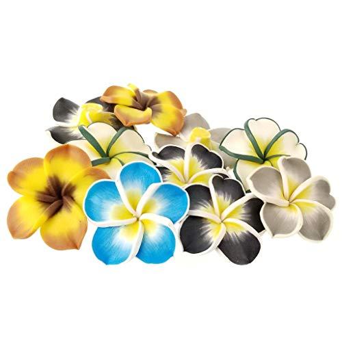(Assorted Hawaiian Loose Plumeria Polymer Clay Flower Beads 35mm)