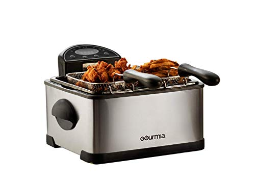Gourmia GDF450 Compact Electric Deep Fryer 3 Baskets Dual Thermostat & Timer Stainless Steel 4.2 Quart/18 Cups of Oil 4 Lbs. Food Capacity 1700W Anti-Grease Fry Filter with Free E-Recipe Book -110V