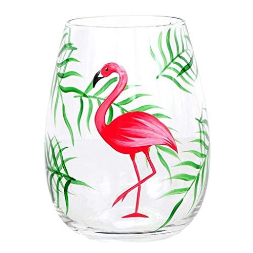 DEI 11505 Stemless Wine Glass, 4.5 x 4.5 x 5.25, Pink/Green]()