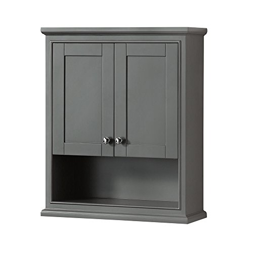Wyndham Collection WCS2020WCDK Deborah Bathroom Wall-Mounted Storage Cabinet, Dark Gray