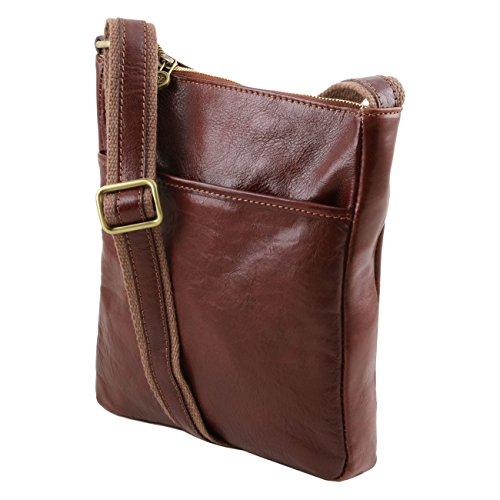 Tuscany Leather Jason - Bolsillo unisex en piel Marrón oscuro Bolsos en piel Miel