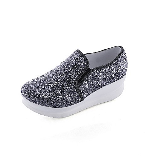 Round WeiPoot Low Solid On Black Heels Shoes Sequins Pull Pumps Women's Toe 0r7aq0