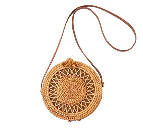Rattan Bags For Women Handwoven Round Crossbody Bags For Women Bali Rattan Bag With Genuine Leather Strap (Rattan Bags Bali)
