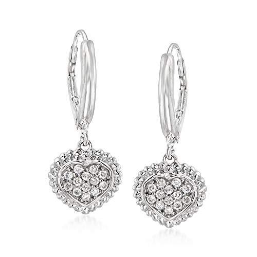Ross-Simons 0.26 ct. t.w. Pave Diamond Heart Drop Earrings in Sterling Silver