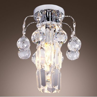hua Striking Semi-flushmount Ceiling Light Fixture Features Hand-cut Lead Crystal Center and -