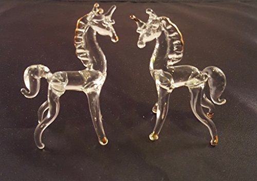 Figurine Peru Art (Set of 2 Blown Glass Unicorn Figurine 2.5