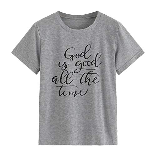 Womens Letter Print T Shirt God is Good All the TIme Short Sleeve Basic Shirt Slim Fit Tees Top Blouse Amiley (X-Large, Gray)