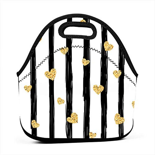 Seamless Gold Heart Pattern Love Lunch Bag Cute Reusable Portable Insulated Lunch Bag Outdoor Picnic Food Bag for Kids, Boys, Girls, Women and Men