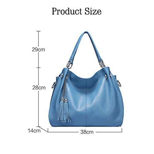 Fashion Cowhide Handbag Bag Vintage Yoome Women's Rose Leather Bag Tassel Shoulder RtnqdwqZx