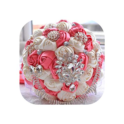 - Luxury Wedding Bouquets Silk Crystal Pearl Rose Flower Bridal Bouquet Holding Flower Photography Accessories D451,A4-15