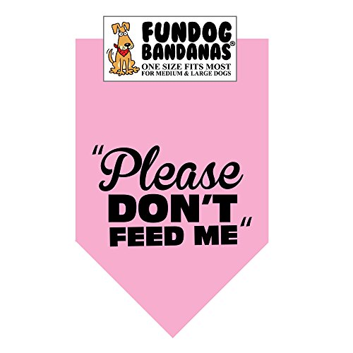 Please Don't Feed Me Dog Bandana (One Size Fits Most for Medium to Large Dogs, Light Pink)