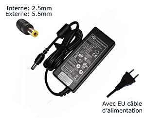 Laptop-Power-Adaptador de corriente AC para Toshiba Satellite A300-ST4004 A305-S6829 A305-S6833 A305-S6834 A305-s6841-Power-Ordenador portátil (TM) de marca () con enchufe europeo