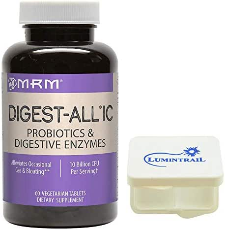 MRM Digest-All IC Probiotics & Digestive Enzymes, Digestion Supplement, 60 Vegetarian Tablets Bundle with a Lumintrail Pill Case