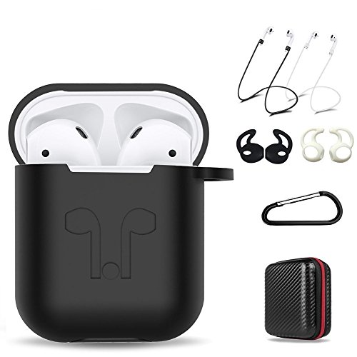 AirPods Case 7 In 1 Airpods Accessories Kits Protective Silicone Cover and Skin for Apple Airpods Charging Case with Airpods Ear Hook Airpods Staps/Airpods Clips/Skin/Tips/Grips Black by Amasing Inner Ear Clip Headphone
