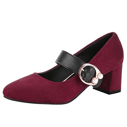 Mid Charm Women's Shoes Wine Foot Red Mary Heel Buckle Retro Chunky Janes qcHg1qO