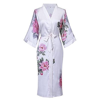 Old-to-new Women's Long Silk Kimono Robe 3/4 Sleeve Soft Bathrobe Sleepwear With Flower Print