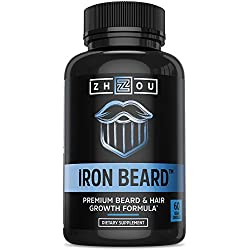 IRON BEARD Beard Growth Vitamin Supplement for Men - Fuller, Thicker, Manlier Hair Growth - 18 Essential Vitamins, Minerals & Proteins - Biotin, Collagen, Saw Palmetto & More - 60 Capsules