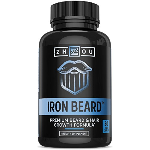 IRON BEARD Beard Growth Vitamin Supplement for Men - Fuller, Thicker, Manlier Hair Growth - 18 Essential Vitamins, Minerals & Proteins - Biotin, Collagen, Saw Palmetto & More - 60 - Hair Of Beard Types