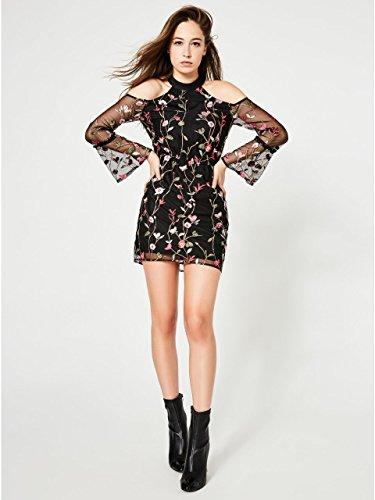 Guess Women's Long Sleeve Cyndi Embroidery Dress, Jet Black/Multi, 8 by GUESS