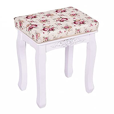 Giantex White Vanity Stool Wood Dressing Stool Padded Chair Makeup Bench Piano Seat With Cushion