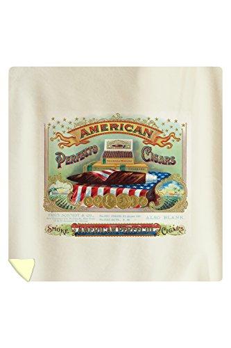 Lantern Press American Perfecto Cigars Brand Cigar Box Label 27774 (88x88 Queen Microfiber Duvet Cover)