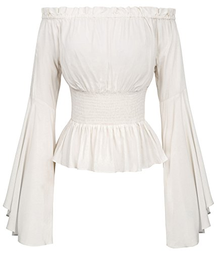 Womens Off Shoulder Renaissance Peansant Blouse Ruffle Boho Tops T Shirts BP468-2 L Ivory ()
