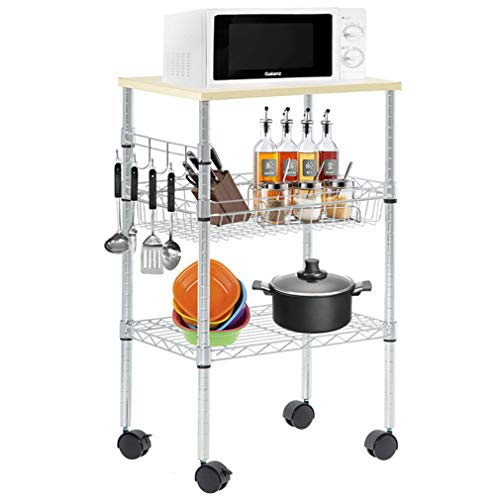 Heavy Duty Utility Cart Wire 3 Tier Rolling Cart Organizer NSF Kitchen Cart on Wheels Metal Microwave Cart Large with Wire Shelving and Microwave Table Heavy Duty Commercial Grade, Wood Chrome