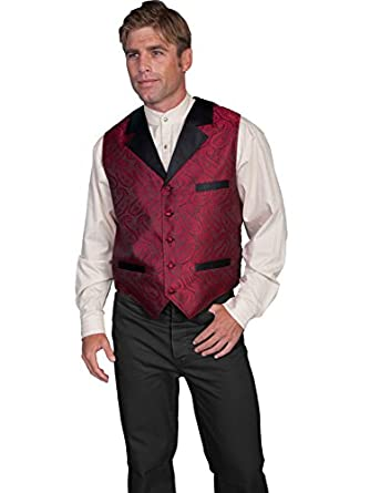 Men's Steampunk Vests, Waistcoats, Corsets Paisley Print Solid Lapel Vest  AT vintagedancer.com