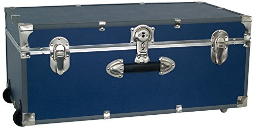 Seward Trunk Wheeled Footlocker, Blue (Footlocker Trunk)