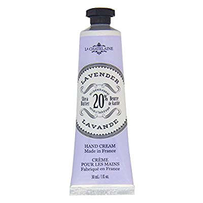 La Chatelaine 20% Shea Butter Lavender Hand Cream + French Soap in a Tin Set, Moisturizing, Nourishing, Made in France, Travel Size Hand Lotion 1 fl oz, Natural Triple Milled Bar (100 g)