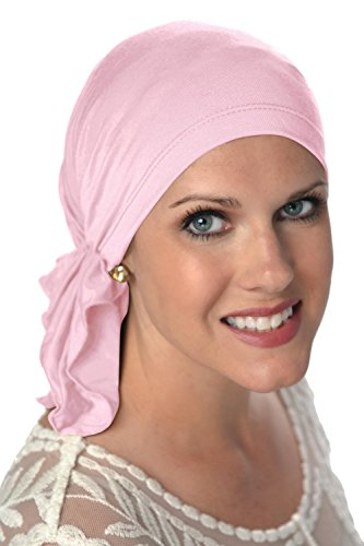Bamboo Slip-On Pre-Tied Scarf-Caps for Women with Chemo Cancer Hair Loss Luxury Bamboo - Cameo Pink
