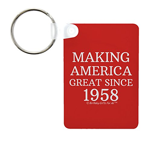 60th Birthday Gifts For All Making America Great Since 1958 Republican Gifts for Dad Birthday Aluminum Rectangle Keychain Keytag