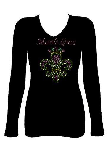 Mardi Gras Fleur De Lis Rhinestone V Neck Long Sleeve Tee Shirt (L) Black