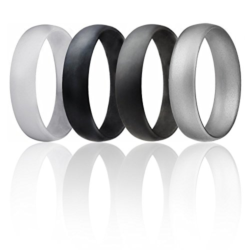 Silicone Wedding Ring For Men By ROQ, Set of 4 Affordable Comfort Fit 6mm Manly Metallic Silicone Rubber Wedding Bands - Silver, Black, Grey, Light Grey - Size 12 (Design Comfort Fit Wedding Ring)