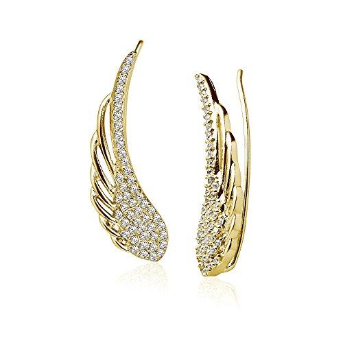 Angel Gold Earrings (LOVVE Yellow Gold Flashed Sterling Silver Cubic Zirconia Angel Wings Ear Cuff Crawler Climber Hook Earrings)