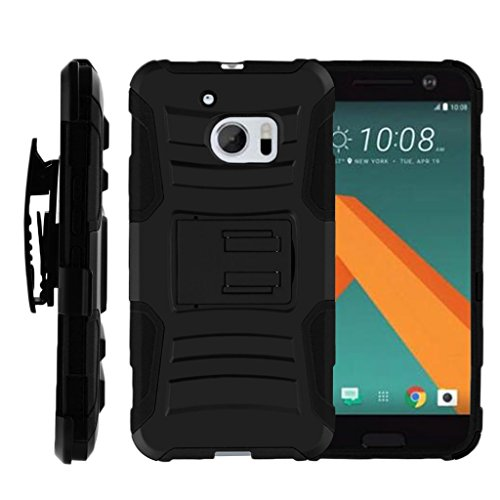 TurtleArmor | Compatible with HTC 10 Case | One M10 Case | HTC 10 Lifestyle [Hyper Shock] Rugged Combo Holster Belt Clip Hybrid Camo Case Silicone with Kickstand - Black (Virgin Mobile Htc Phone Case)