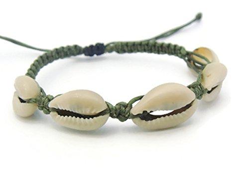 [APECTO Jewelry Hawaiian Natural Cowrie Shell Beads Adjustable Bracelet Handmade (Dark Green), SN23] (Hindu Bride Costume)