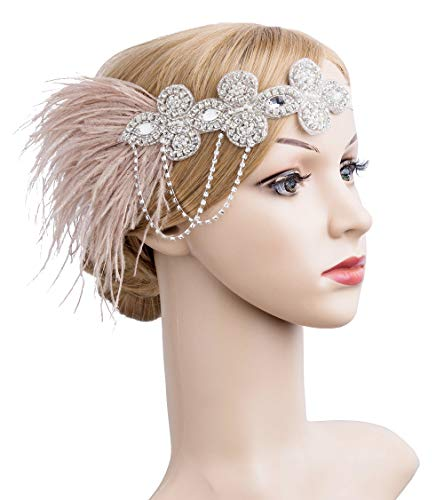 1920s Flapper Peacock Feather Headband Great Gatsby Bridal Crystal Headpiece Apricot (Champagne-1)]()