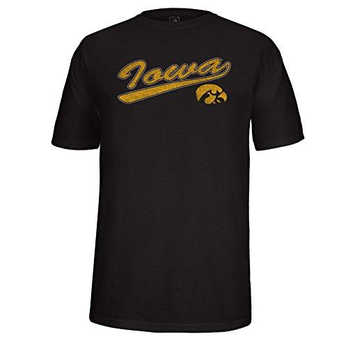 (NCAA Iowa Hawkeyes Men's School Name Script Tail Logo Choice Tee, Black,)