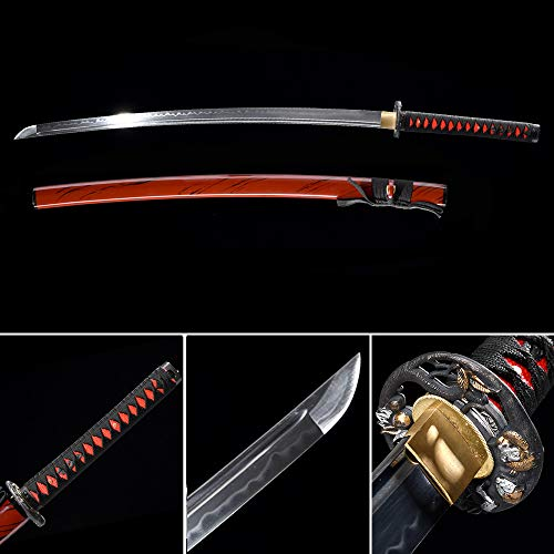 (xinan2018 Samurai Katana Japanese Sword Real T10 1045 1060 1090 Battle Ready Hand Forged Damascus Carbon Steel Heat Tempered Full Tang Sharp Wooden Scabbard Handmade Black Wall Mount Steel (013))