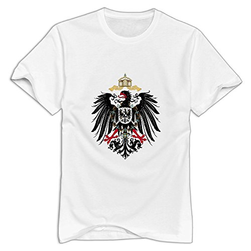KST Men's Coat Of Arms Of Germany Flag Emblem 100% Cotton O Collar Funny Picture T-Shirt White Size 3X ()
