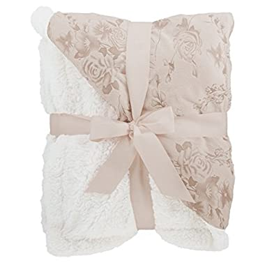 Floral Embossed Sherpa Throw Blanket 50  x 60  Reversible Textured Fuzzy Soft Beige