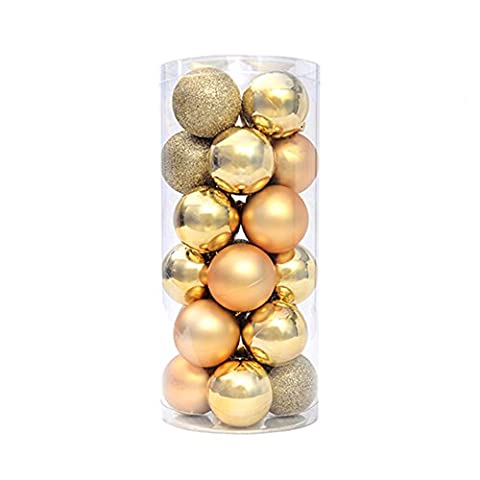 Wrisky Christmas Tree Xmas Balls Decorations Baubles Party Wedding Ornament 24pcs 4cm (Gold) (Indian Gold Ornaments)
