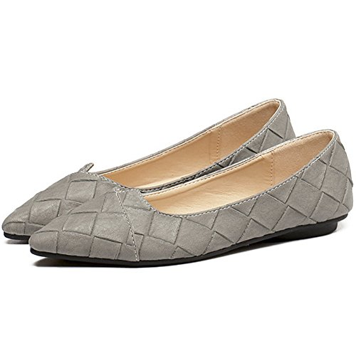 Slip Ballet QZUnique on Shoes Soft Pointy Comfort Toe Women's Classic Flat Grey xwqrqIU40