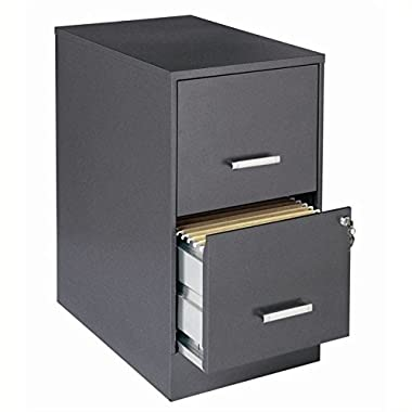 Scranton & Co 2 Drawer Letter File Cabinet in Charcoal