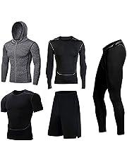 BUYJYA - Conjunto de 5 pantalones de compresión para hombre, manga larga