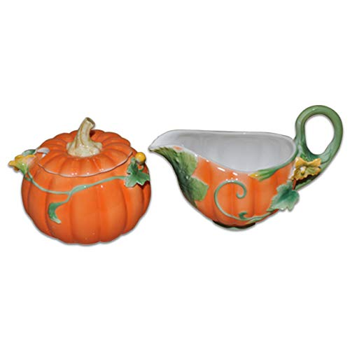 Pumpkin Decorated Sugar & Creamer ()