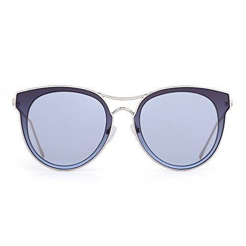 Rounde Femme Chat de Homme Or Plate Bleu Oversize de Verre Soleil Transparent Solaire Œil Lunettes Métallique Lunette v1CqxSfwSn