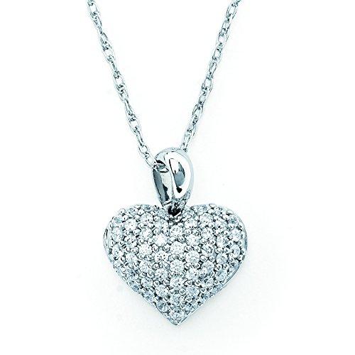 14K White Gold Diamond Pave Heart Pendant Necklace, 18